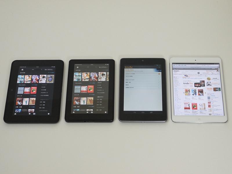 左から、Kindle Fire HD、Kindle Fire、Nexus 7、iPad mini。本体の天地サイズはそれほど差はないが、幅および画面サイズは機種によってかなり違う