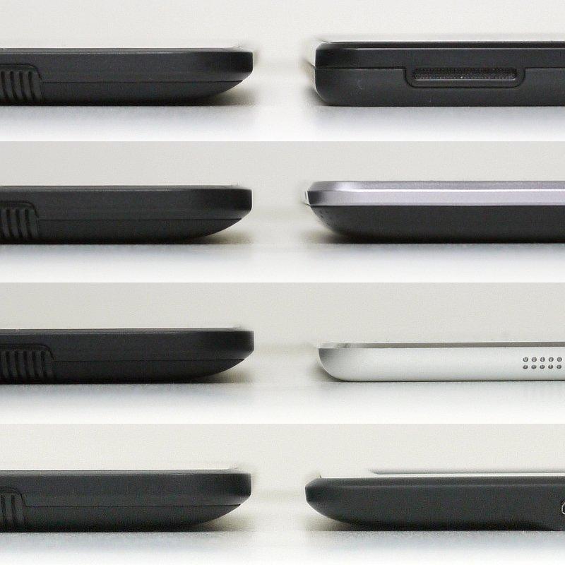 厚みの比較。左列はいずれもKindle Fire HD、右列は上から順にKindle Fire、Nexus 7、iPad mini、Kindle Paperwhite。iPad miniが飛び抜けて薄いほかは、違いはわずか