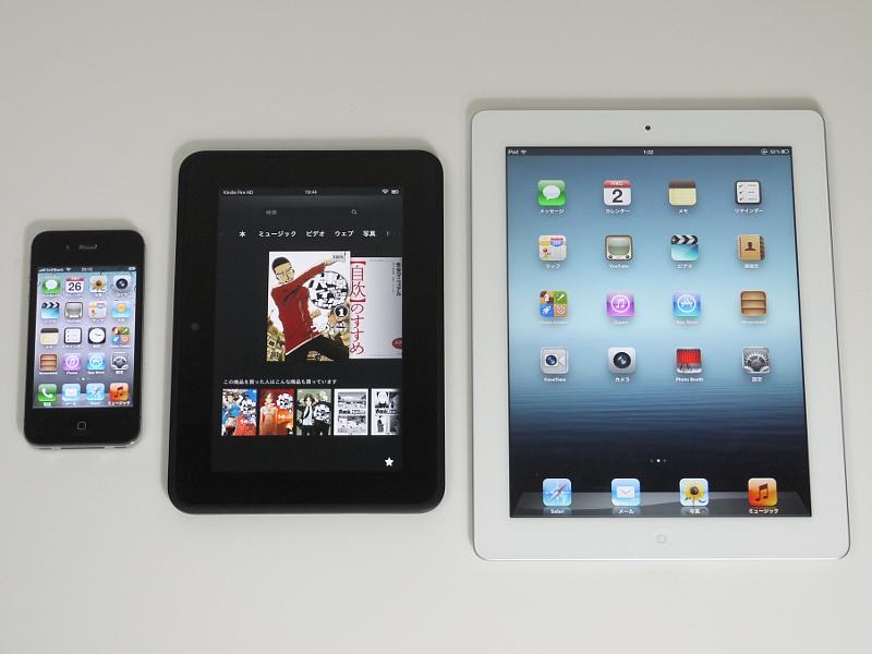 サイズの比較。iPhone 4S(左)、Kindle Fire HD(中央)、iPad(右)。Kindle Fire HDはおおむね中間のサイズということになる