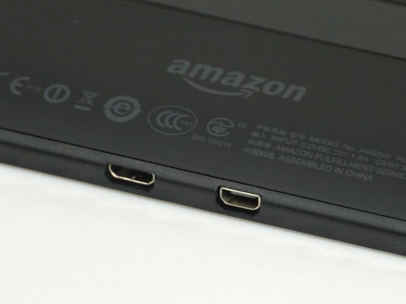 本体底面にMicro USBポート、Micro HDMIポートを備える