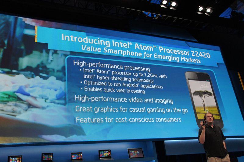 Atom Z2420は1.2GHz(HT対応)でAndroid OSをサポート