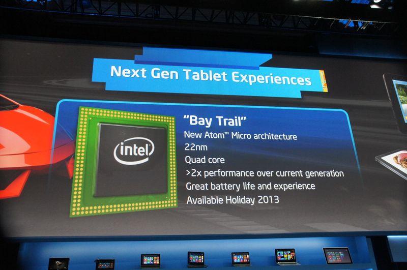 次世代製品のBay Trailをアピール、22nmで製造される新しいマイクロアーキテクチャのクアッドコアで、現行製品に比べて2倍のパフォーマンスを実現。今年の年末商戦に投入予定