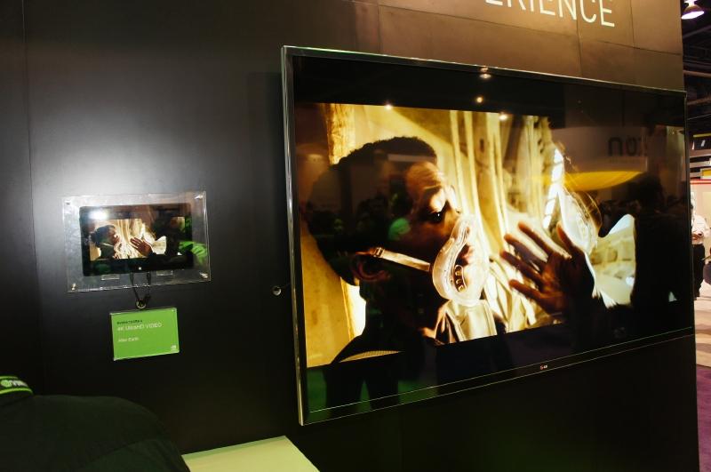 Tegra 4を搭載したタブレット(リファレンスデザイン)から4Kのコンテンツを4Kのテレビに再生するデモ