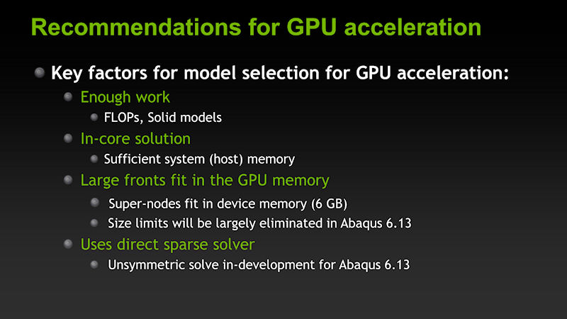 GPUアクセラレーションの効果が発揮されるための要件として、十分な計算量、十分なメインメモリ、十分なGPUメモリ、直接スパース法の利用が挙げられる