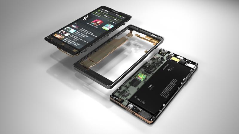 Phoenixのイメージ写真。5型/1080pのディスプレイを持ち、厚さ8mmというスマートフォンが低価格で実現できるようになる
