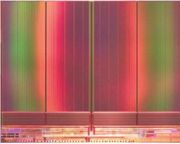 開発したTLC方式128Gbit NANDフラッシュメモリのシリコンダイ写真