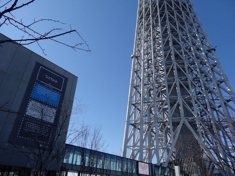 東京スカイツリーに隣接する東京ソラマチにも広告