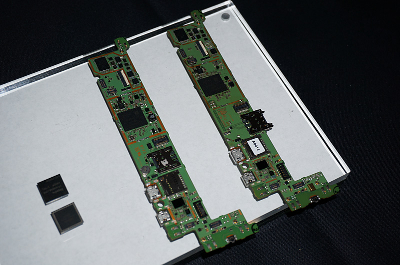 スマートフォン向けリファレンスデザインボード。右側はTegra 4iで左側がTegra 4。Tegra 4にはモデムがないのが特徴。なお、Tegra 4iはPoPではなく、FCCSP版で搭載されているので、PoPを使って最適化すればさらに小さな基板にすることができそうだ