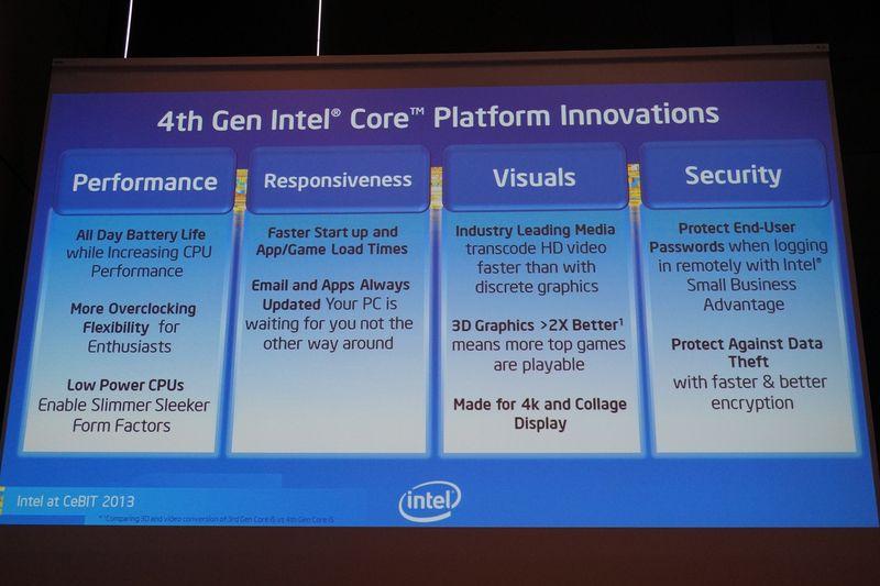 第4世代Coreプロセッサの特徴。消費電力が低く、性能が向上し、デスクトップPC向けではオーバークロック機能がより便利になる