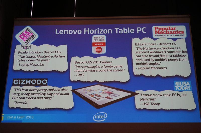 CESで発表されたLenovoの「Horizon Table PC」には多くの賞を受賞した