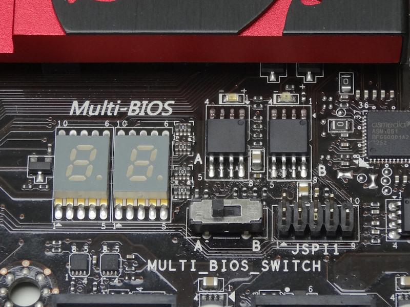 POSTコード表示用の7セグメントディスプレイや、マルチBI/OSにも対応。BI/OSはスイッチで切り替えられる