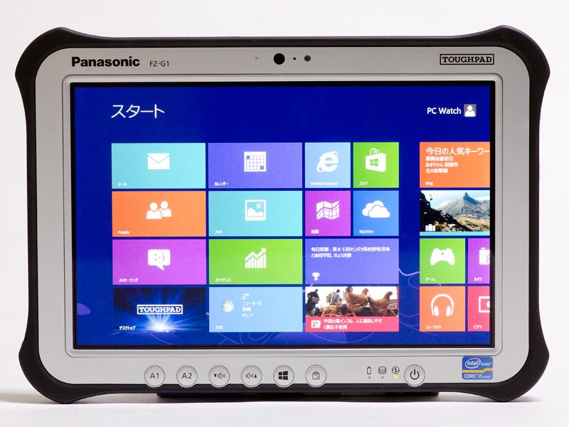前面。上側左からLEDインジケータ、前面カメラ、マイク、照度センサー。下側左からA1/A2ボタン、ボリューム、Windowsボタン、回転ロック、LEDインジケータ、パワーボタン