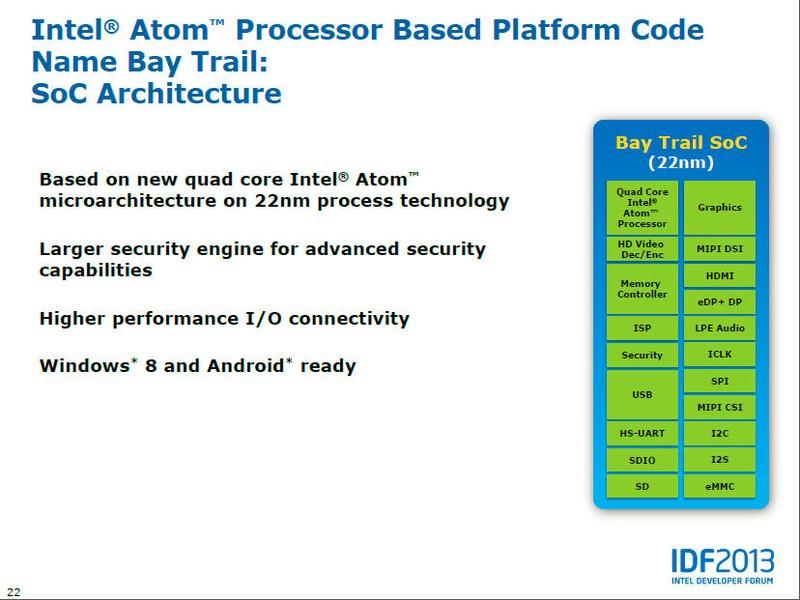タブレット戦略を説明するテクニカルセッションではBay Trailの概要が公開された。既報の通り、22nmプロセスルールで製造され、新マイクロアーキテクチャのクアッドコアプロセッサ、WindowsとAndroidの両方に対応する