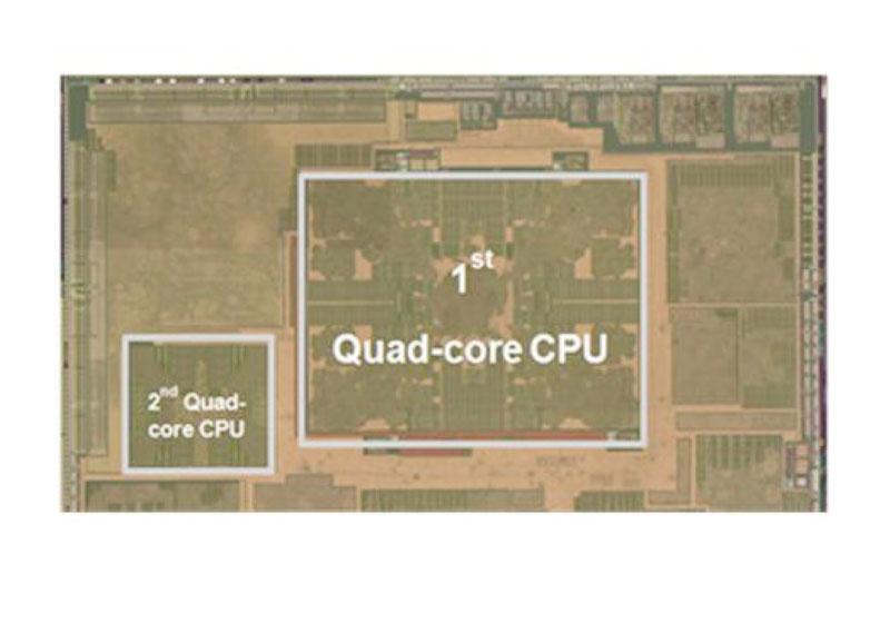 Exynos 5 Octaのダイ(半導体本体)上のCPUコア部分のクローズアップ。Cortex-A15クアッドコア(右)とCortex-A7クアッドコア(左)。