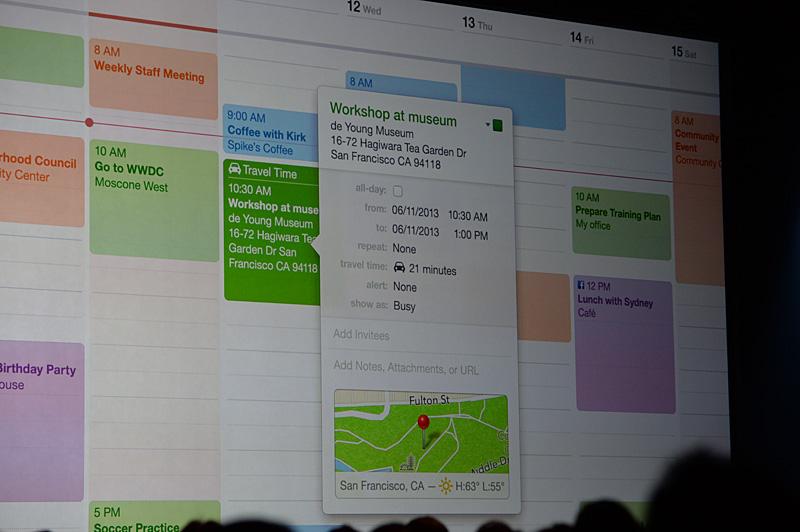 カレンダー機能。予定されるスケジュールに対して移動時間なども考慮した予定が組まれる