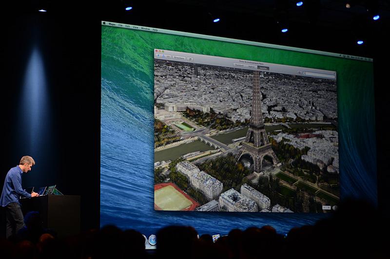 iOS 6で導入されたAppleによる地図機能はOS Xからも利用できるようになる。2012年同様にFlyOver機能などがデモンストレーションされた