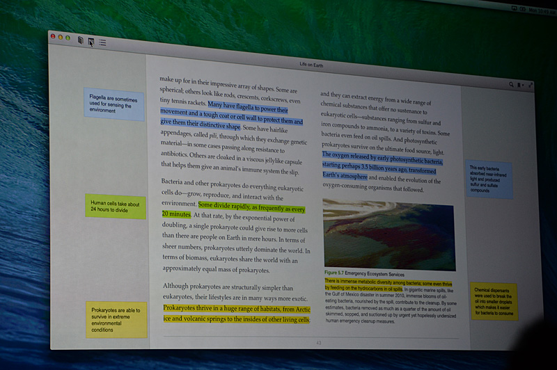iBooksもOS Xで利用できる。メモ機能やしおりなどをデバイス間で同期する