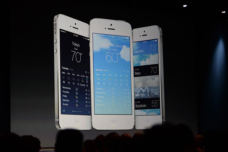 気象情報のアプリケーション。予告バナー同様に、非常に細い書体でデザインされている。要求仕様がiPhoneのサイズではRetina搭載機になった理由の1つかも知れない