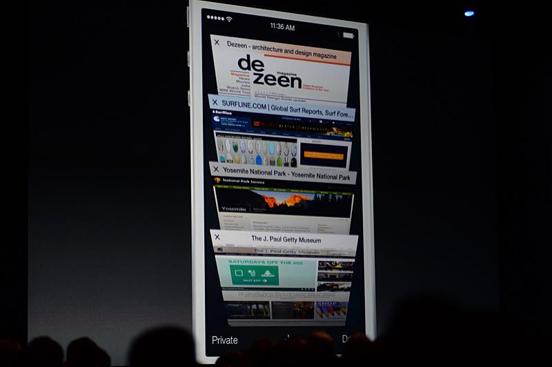 iOS 7のSafari。複数開いたウインドウがこうしたスタイルで一覧できる