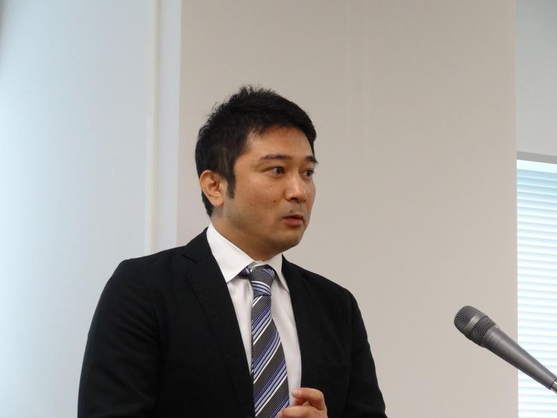 製品デモを行なったマカフィー CMSB事業本部 パートナープロダクトマネージメント グループマネジャー 風見裕樹氏