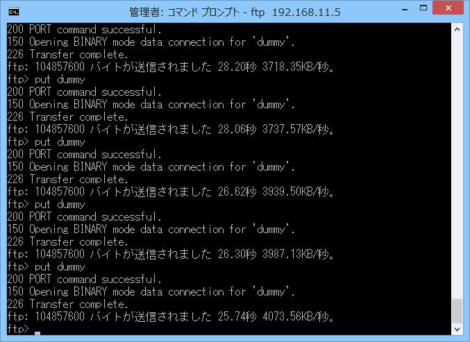 FTP/11nでPUT 3.8MB/sec程度