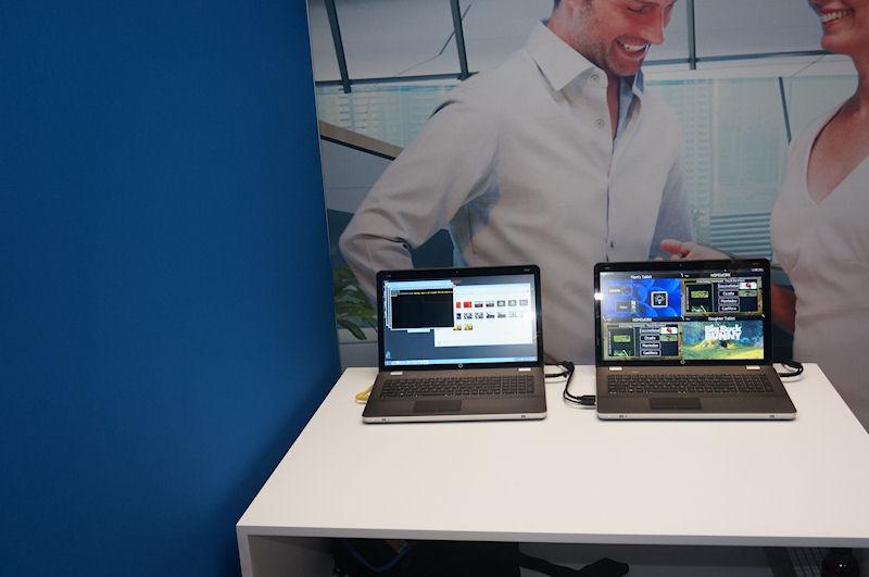 右側のPCが4つの出力を受けているノートPCで、ノートPCのビデオ出力からTVに出力している。現在はPCだが、将来は現在のWiDiアダプタのようにHDMIに接続するCE機器のような形にする