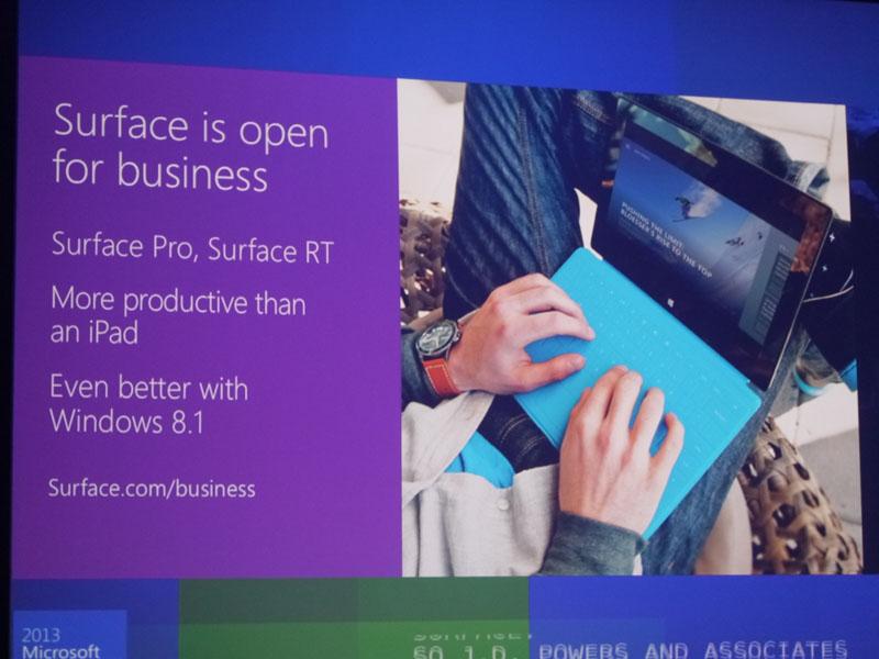 レラー氏のプレゼンテーションでもSurfaceのビジネス分野向け展開を示した