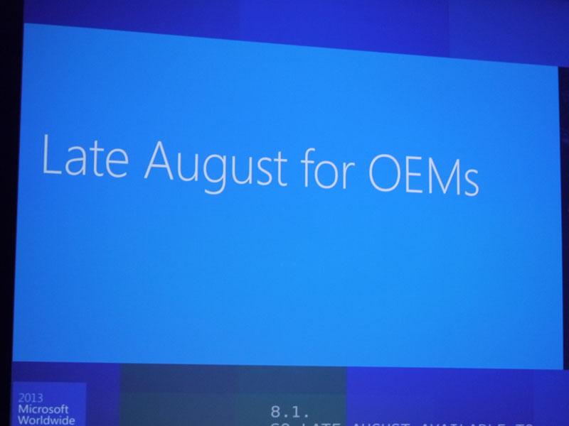 レラー氏は8月末までにOEMベンダーにWindows 8.1を提供することを明かした