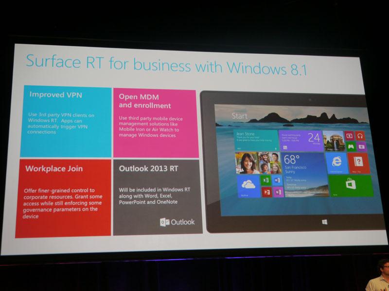 Surface RTはWindows RT 8.1によってビジネスに最適化したデバイスになるという
