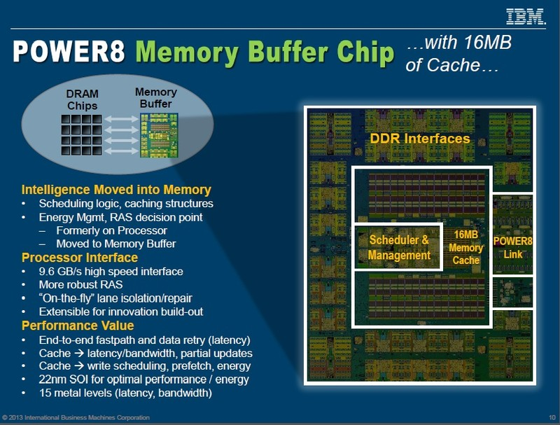 Centaur Memory Bufferの概要とシリコンダイ写真。16MBのキャッシュと4チャンネルのDDRメモリコントローラを内蔵する