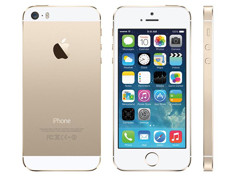 新色となるゴールド。外観はLEDフラッシュと、ホームボタンのリング部分を除いてiPhone 5とよく似ている。純正ケースが共通化されていることから、既存のケースアクセサリはそのまま利用できる可能性が高い