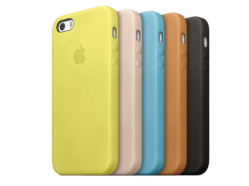 iPhone 5sとiPhone 5に対応する純正アクセサリのケース。全5色