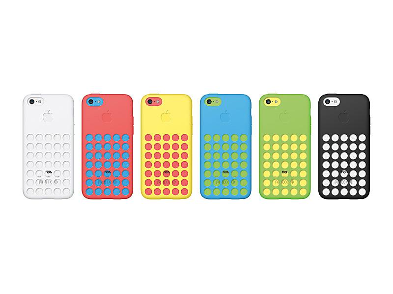 iPhone 5c用の純正ケース。35個のパンチングが空いたデザインになっている
