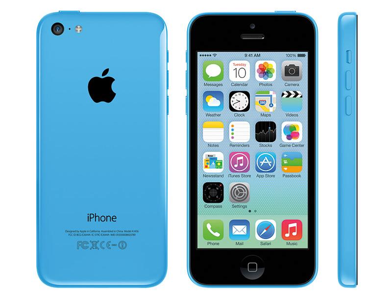 iPhone 5cの正面、背面、側面。ボリュームボタンはバー状に変わった