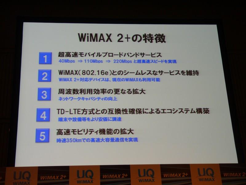 WiMAX 2+の特徴