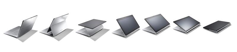 multi-flipの動き。左から右へキーボードモード、ビューモード、タブレットモードと変形