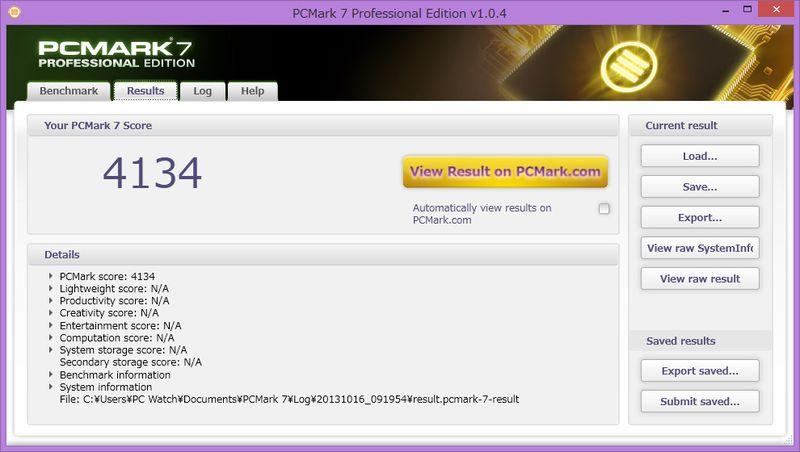 PCMark 7。4134 PCMarks