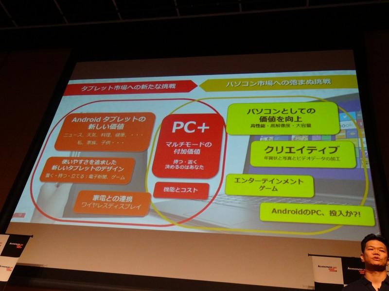 レノボ・ジャパンでは「マルチモードによる付加価値」をPC+のポイントとし、そうしたデバイスを提供する