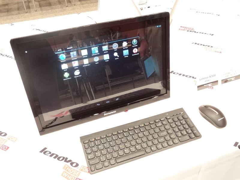 個人向けに発売される予定として参考展示された19.5型液晶一体型のAndroidデスクトップ「Lenovo N308」