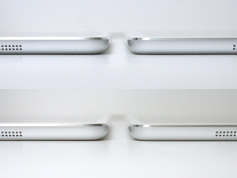 厚みの比較。iPad Air(上)とは同じ、従来のiPad mini(下)とは0.3mmの差で、単体ではほとんど違いは感じず、持ち比べてようやく分かる程度