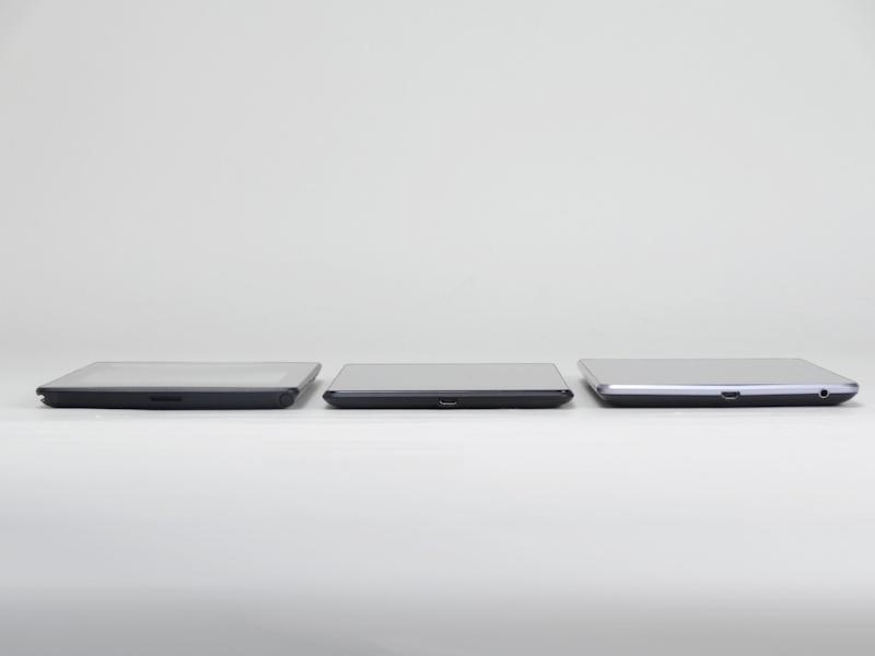 左から「Tegra Note 7」、「Nexus 7(2013)」、「Nexus 7(2012)」。フットプリント、厚みともにNexus 7(2012)に近い印象