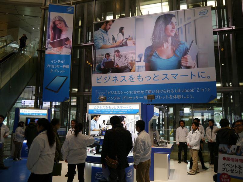 JR博多駅メインコンコース吹き抜けゾーンで開催された「インテル 体験イベント」