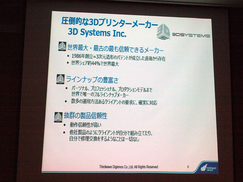 3D Systemsの実績