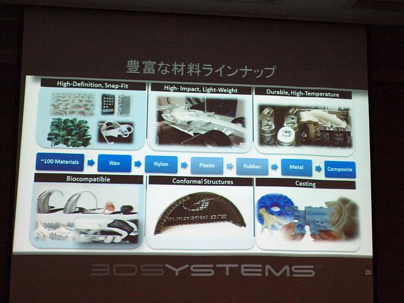 豊富な材料も3D Systemsの強みの1つ