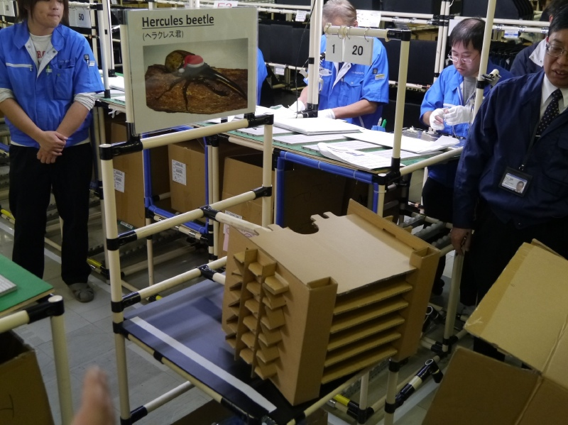 部品などが梱包されて入荷したダンボールの中の梱包材を抜き取りやすくする治具。ヘラクレス君と呼ぶ