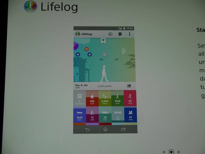 Lifelogアプリの画面。歩数や走った時間、消費カロリー、睡眠時間、乗り物での移動時間などが表示されている