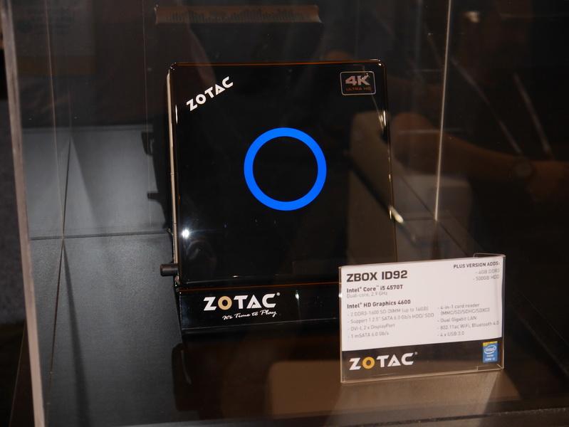「ZBOX ID92」。CPUにCore i5-4570T(2.9~3.6GHz)を採用する、ZBOX IQ01の下位モデル。CPU以外の仕様はZBOX IQ01と同じで、こちらも4K出力に対応している