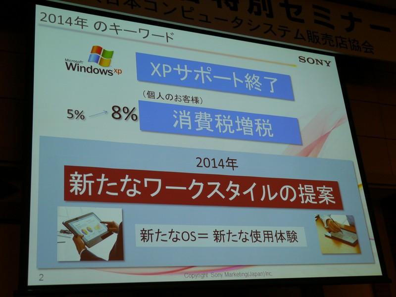 XPサポート終了、消費税増税の需要後には新たなワークスタイルの提案が不可欠(ソニーマーケティングの資料から)