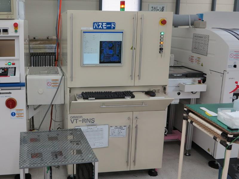 続いて、プリント基板に正しくハンダが付いているかを実装検査機で確認