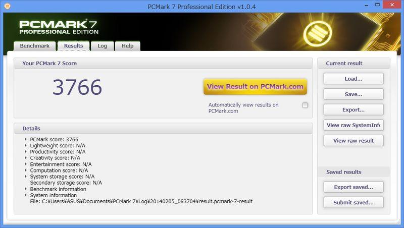 PCMark 7。3766